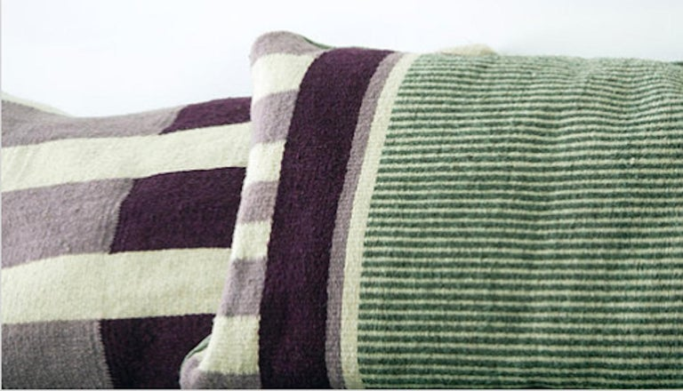 Mexican Handwoven Modern Organic Style Wool Throw Pillow with Stripes, in Stock For Sale