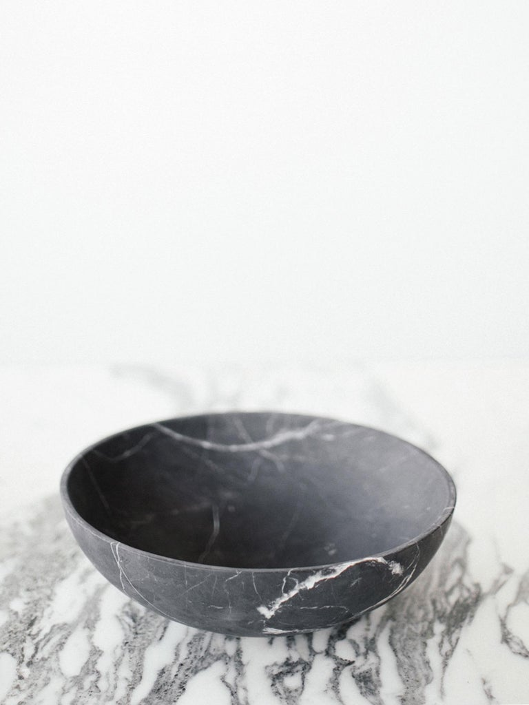 Mid-Century Modern Grande Bowl in Black Marble, Made to Order For Sale