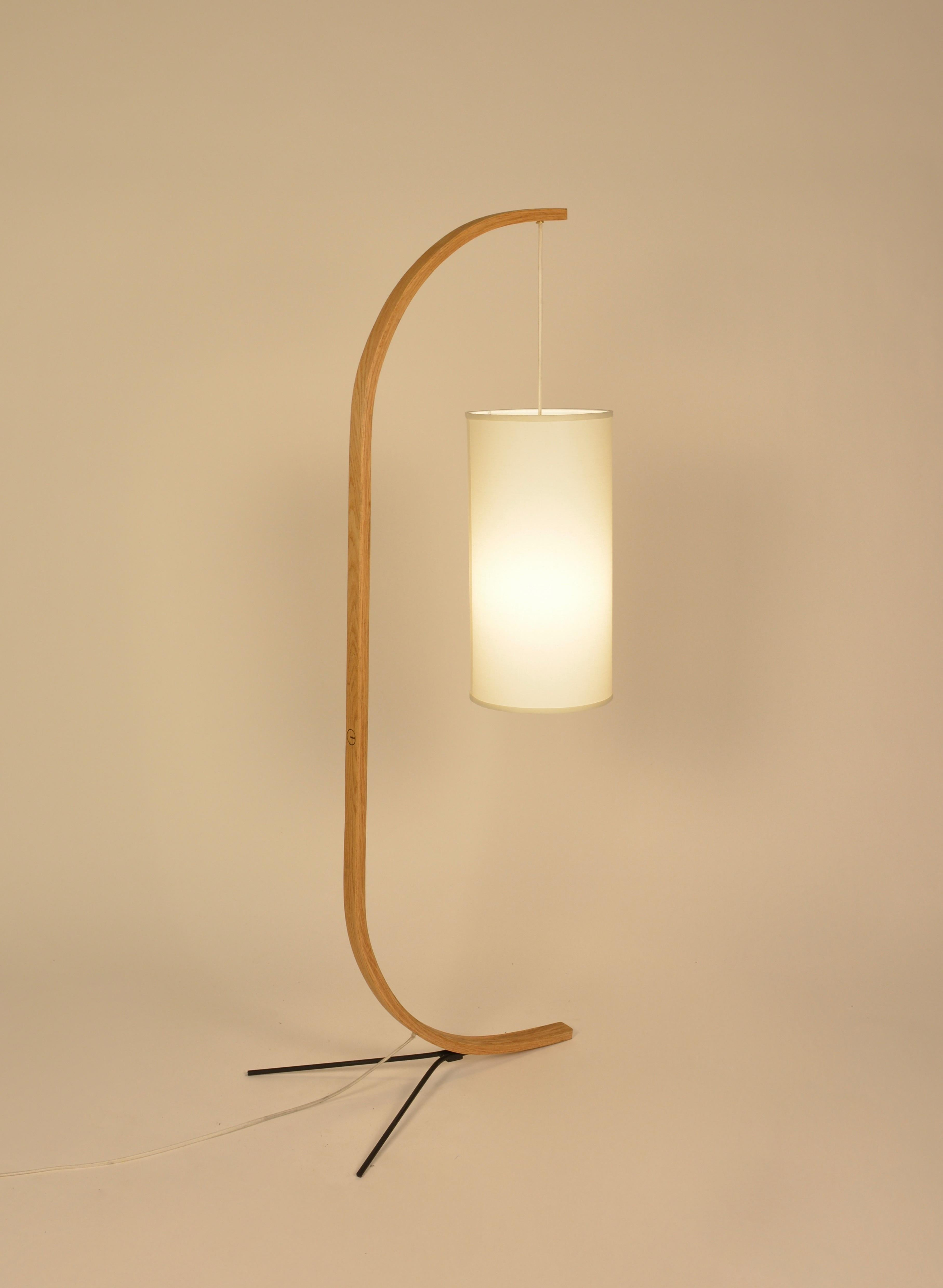 Slender Minimalist Curved Floor Lamp Made With Oak, Steel, And Cloth  Lampshade. Powered