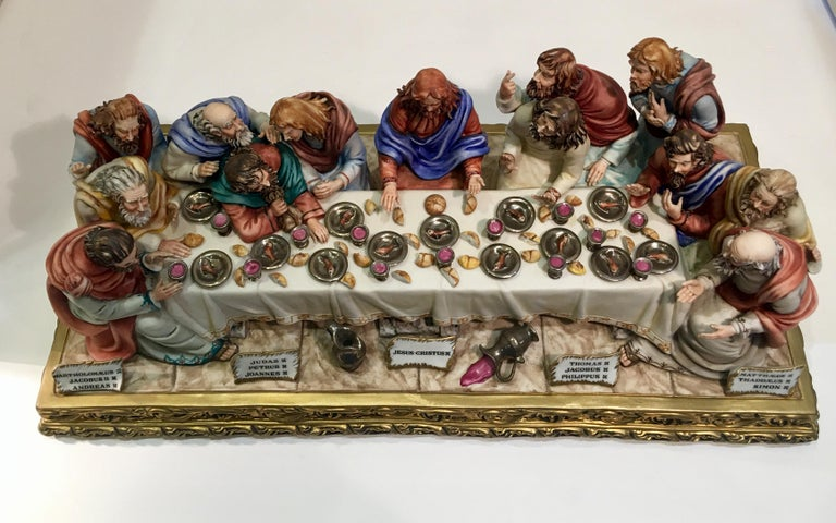 """""""The Last Supper"""" is a limited edition, handmade and hand-painted, collectible Capodimonte Italian porcelain by Italian artist, Germano Cortese."""
