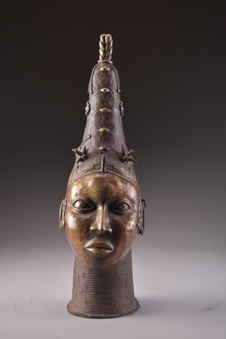 Tribal Bronze Benin Head For Sale