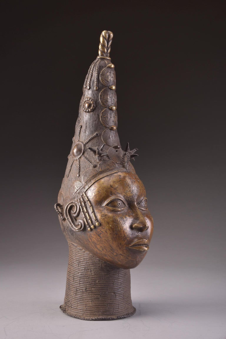 Head of a Queen Mother. Nigeria, Edo, Benin 20th century. Measures: H 23 in. (58 cm)