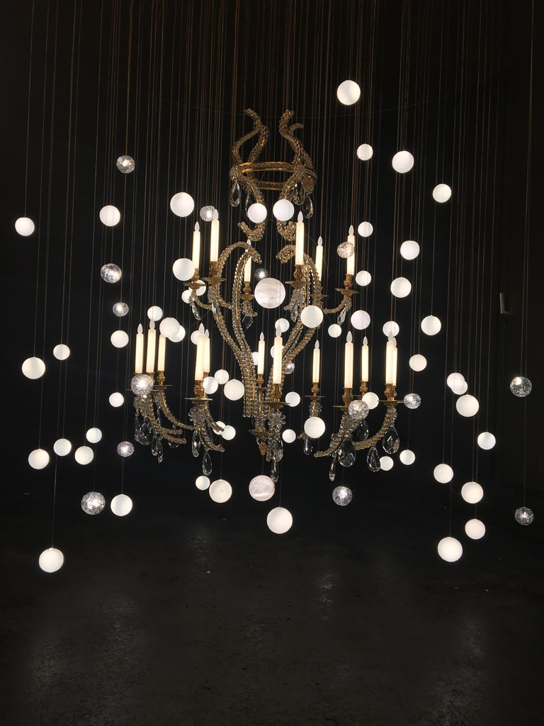 French Contemporary 'Le Merveilleux Bronze' Chandelier in Bronze, Rock Cristal, Glass For Sale