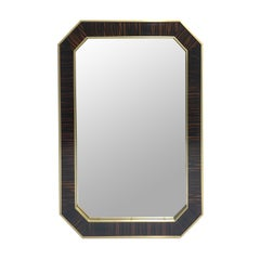Mirror Classic Modern Style in Macassar Ebony and Brass, in Stock