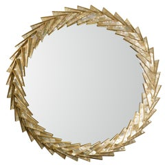Modern Classic Round Mirror Brass with Mother-of-Pearl Triangles, in Stock