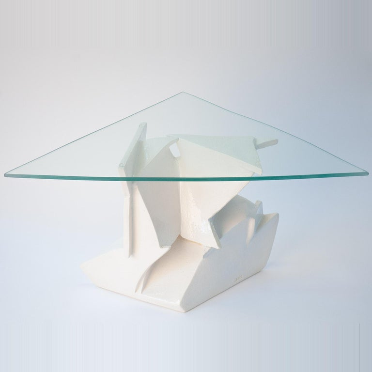 American J Schatz Studio 2018 Angles Table in Stoneware with Tempered Glass Top - Modern For Sale