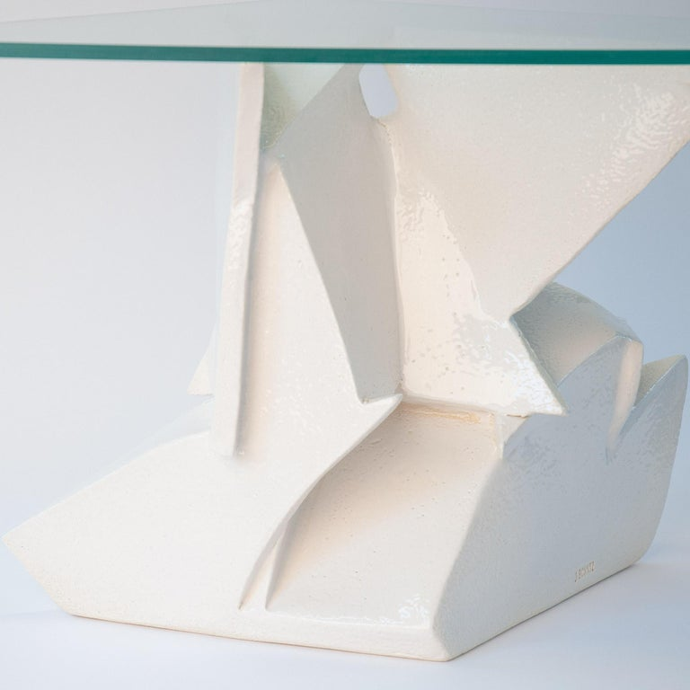 J Schatz Studio 2018 Angles Table in Stoneware with Tempered Glass Top - Modern In Excellent Condition For Sale In Providence, RI