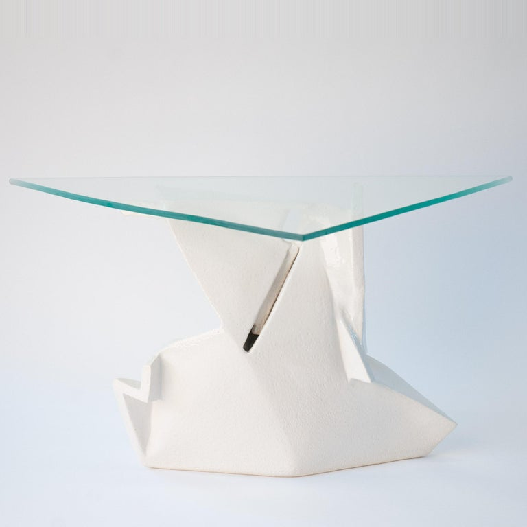 J Schatz Studio 2018 Angles Table in Stoneware with Tempered Glass Top - Modern For Sale 1