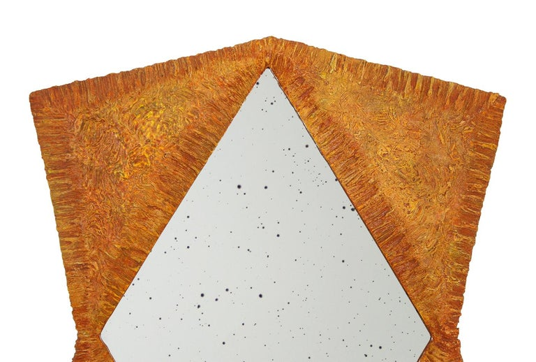 Contemporary artistic mirror. Sculptural composition in the shape of a face, hand-carved. Original creation of materials and colors. Limited edition, number 7 out of 8. In the back, signed by Pascal & Annie Leniau, year 2003, model 007.