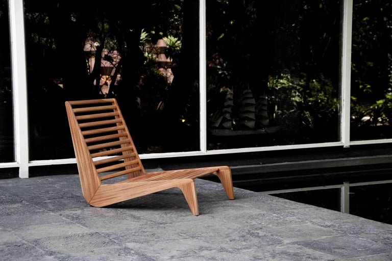 A beautiful and stylish outdoor piece inspired by 1950s Mexican furniture and constructed using traditional joinery techniques in solid hardwood. With the option of adding cushions it is intended for indoor and outdoor use.  The aesthetic of this