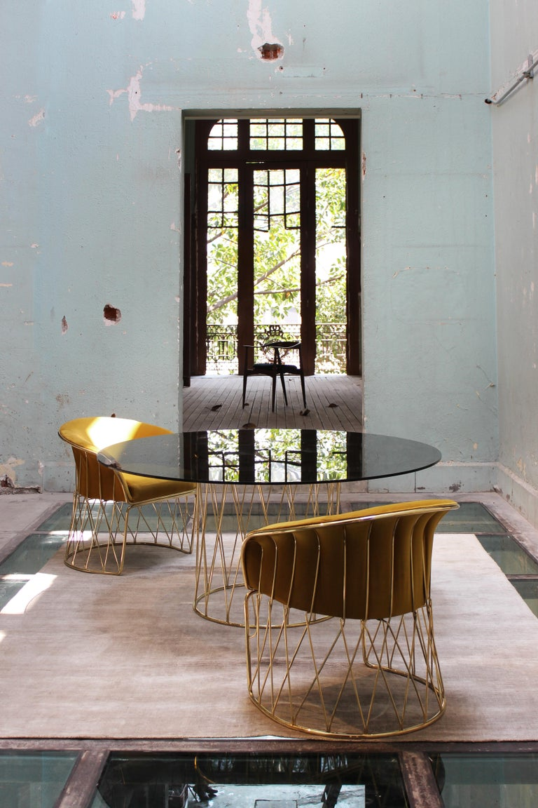 Mexican Equipal Brass and Glass Table by ATRA For Sale