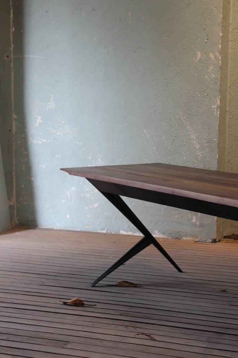 Industrial Mantis Walnut, Mahogany and Painted Steel Desk For Sale