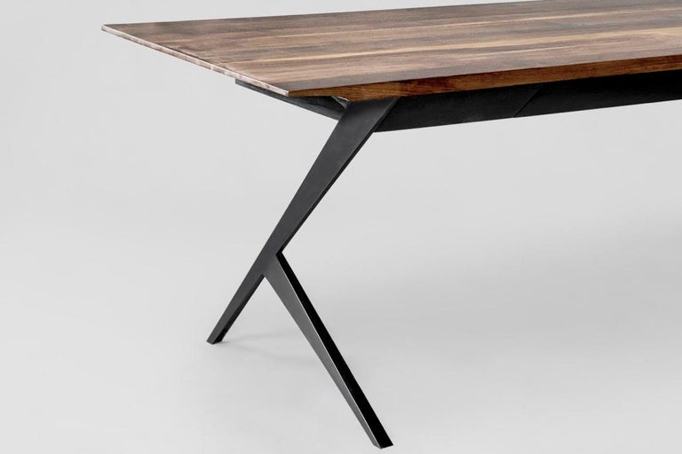Mexican Mantis Walnut, Mahogany and Painted Steel Desk For Sale