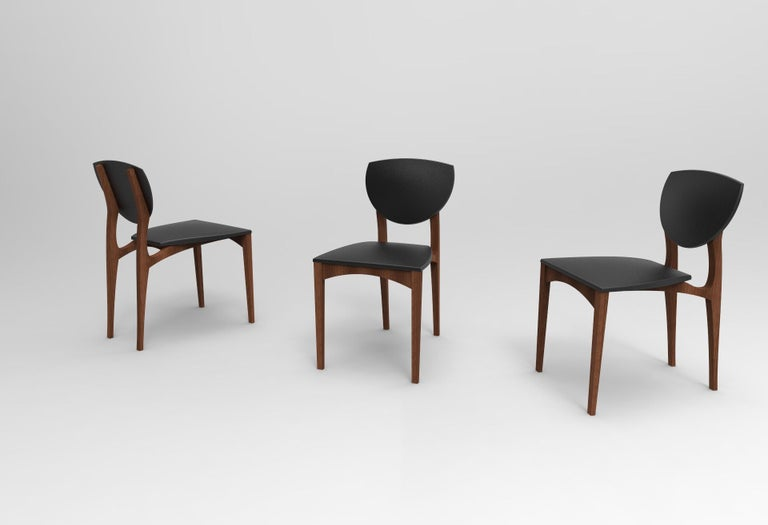 Femur Dining  Chair Set (6) in Walnut and Velvet by ATRA In New Condition For Sale In San Francisco, CA