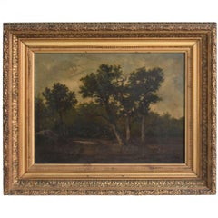 Late 19th Oil Undergrowth Landscape on Canvas Signed Gèze