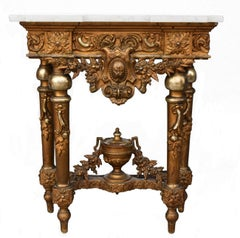 Late 19th Century Gilded Wood and Stucco Marble-Top Console