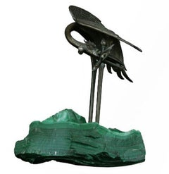 1900 Bronze Heron on Block of Malachite