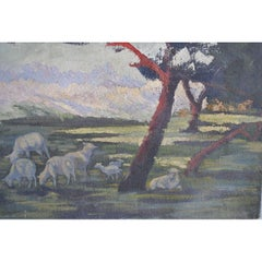 1900 Oil Painting on Canvas Pastoral Scene