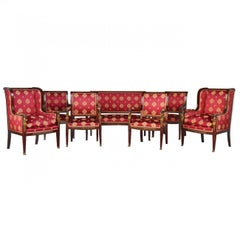 19th Empire Mahogany Salon Style Ormolu and Upholstered Silk