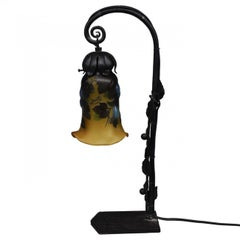 1900 Desk Lamp Iron Forged and Molten Glass Tulip by Emile Gallé