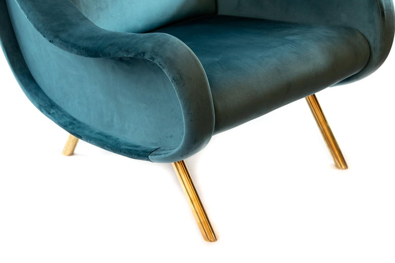 Contemporary Pair of Italian Armchairs in Marco Zanuso Style For Sale