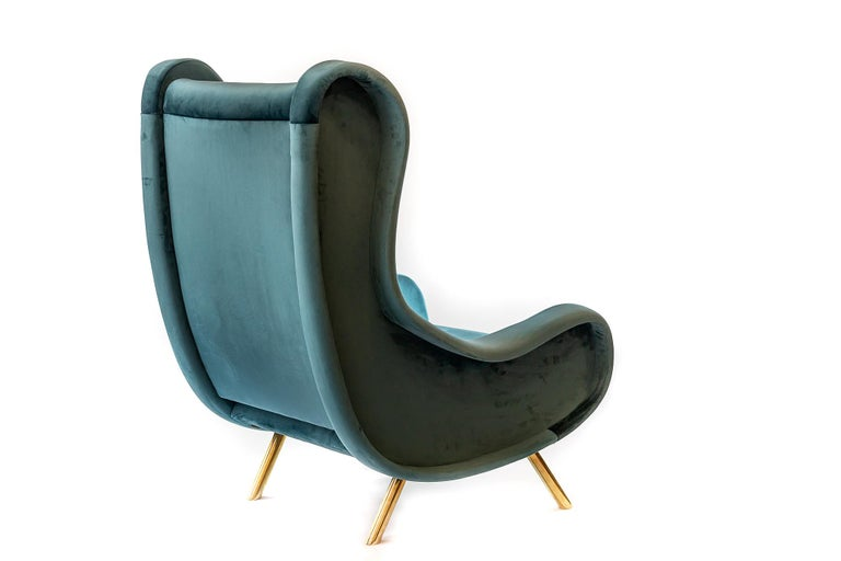 Mid-Century Modern Pair of Italian Armchairs in Marco Zanuso Style For Sale