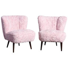 Pair of Cocktail Chairs Pink Faux Fur