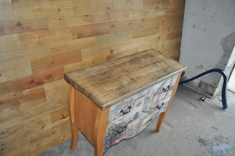 Hand-Crafted Chest of Drawers with Paris Photo For Sale