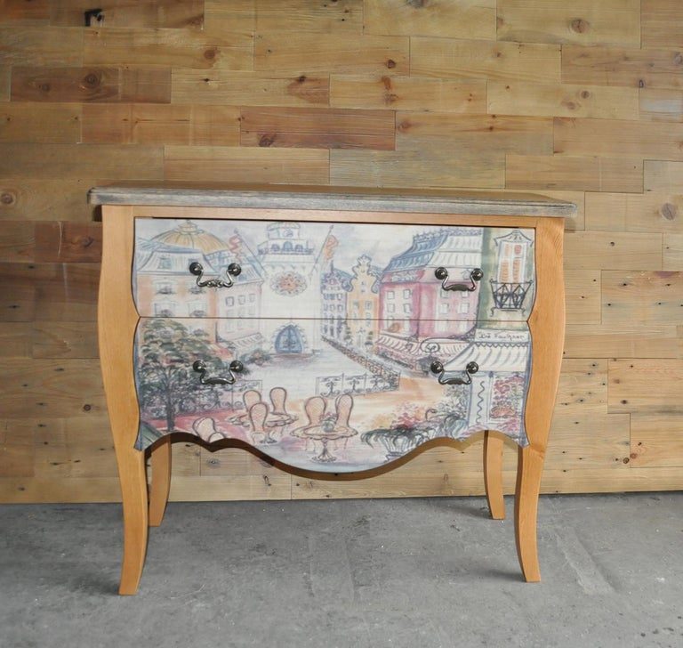 Contemporary Chest of Drawers with Paris Photo For Sale
