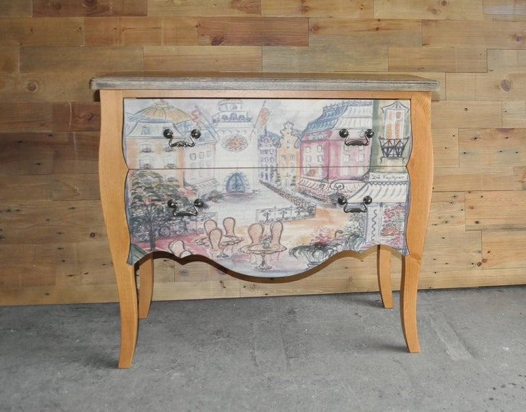 Oak Chest of Drawers with Paris Photo For Sale