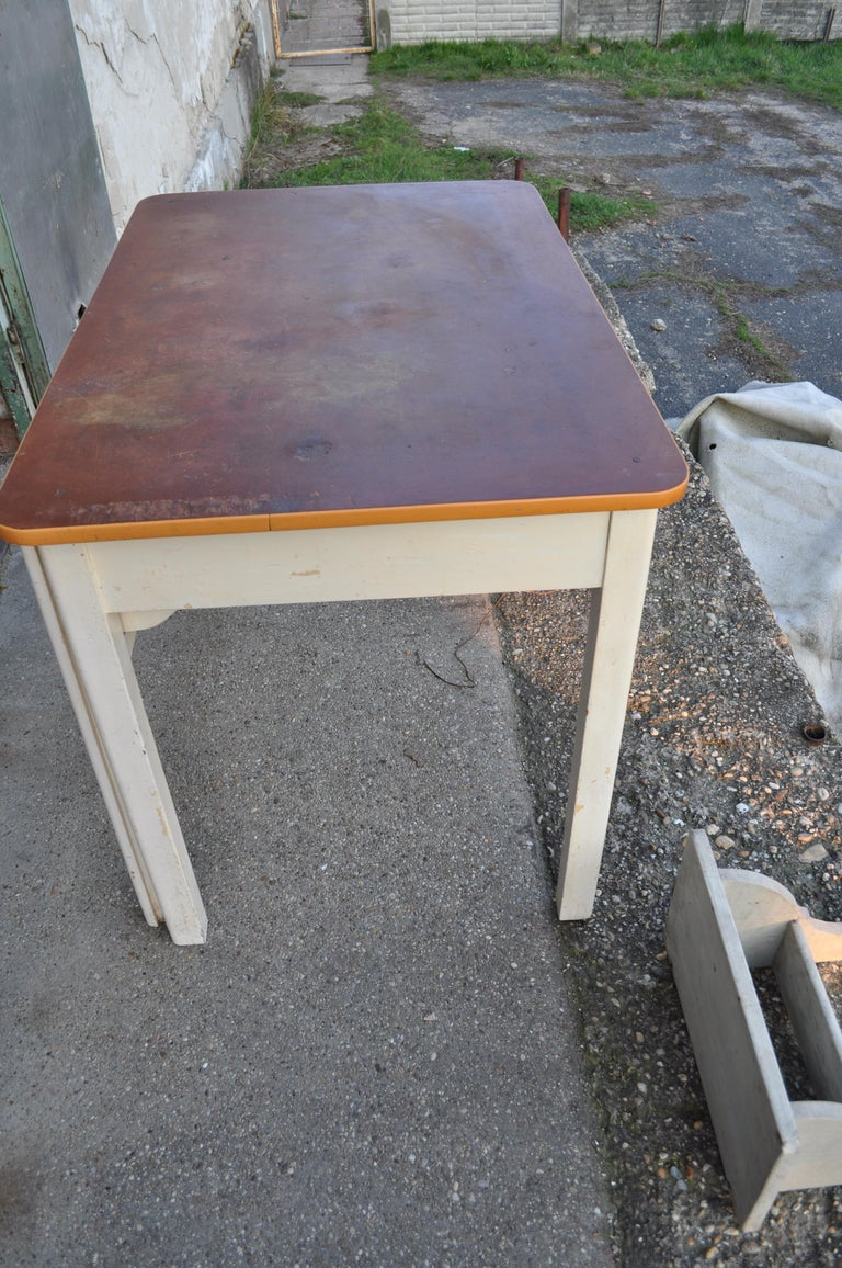 Pine Old Rustic Farmhouse Table with Two Basins For Sale