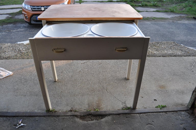 Painted Old Rustic Farmhouse Table with Two Basins For Sale