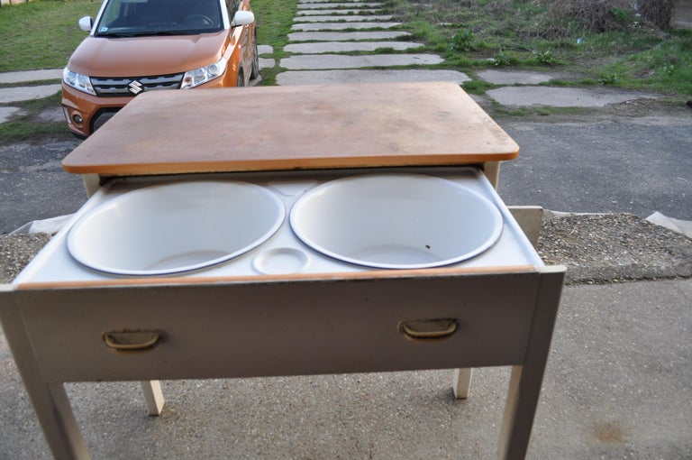 Mid-20th Century Old Rustic Farmhouse Table with Two Basins For Sale