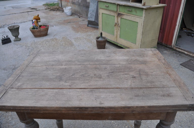 Hardwood Antique Farm Table /A Top Which Pivots through 90 Degrees For Sale