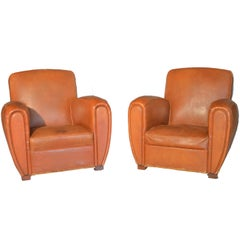 Pair of Art Deco Armchairs in Light Brown Leather of French Origin of 1920