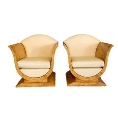 Pair of Tulip Armchairs in Art Deco Style of French Origin of 1925 Maple Wood