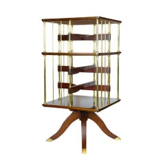 Rotatable Side Stand, Vienna, circa 1910, Mahogany and Brass