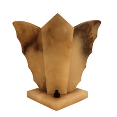 Art Deco Shelf Lamp Made of Natural Stone in Butterfly Shape, circa 1920-1930