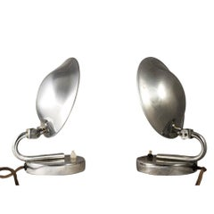 Pair of Table Lamps by Josef Hurka, Chrome-Plated Brass, Art Deco, circa 1925