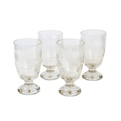 Set of 4 Glasses with Floral Decoration, circa 1920-1930