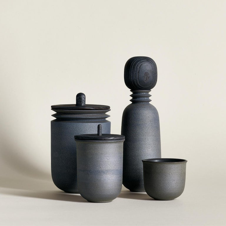 Contemporary Twilight, Carafe Teacup Set, Slip Cast Ceramic, N/O Service Collection For Sale