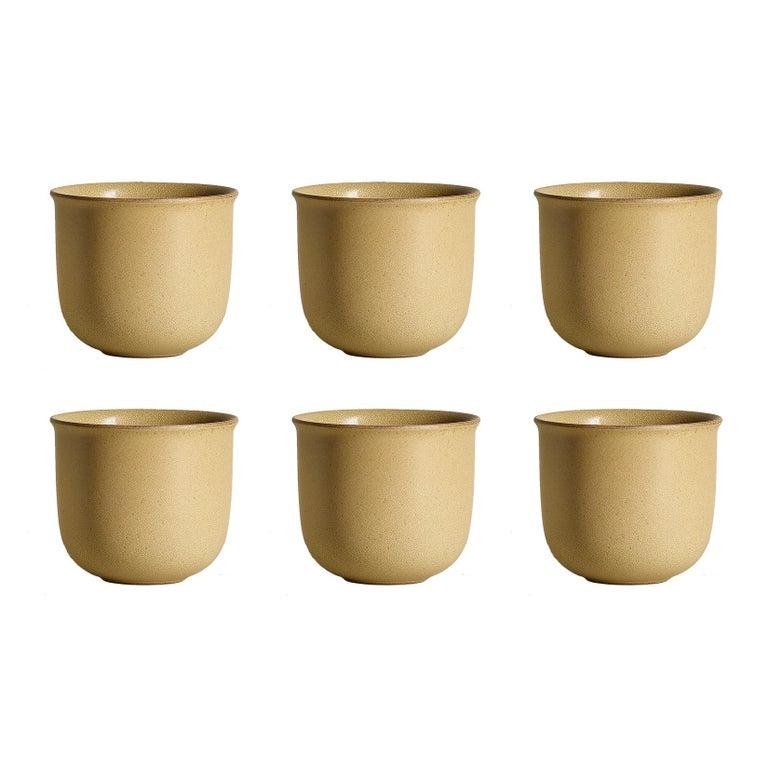 Ochre, Teacups, Set of 6, Slip Cast Ceramic, N/O Service Collection