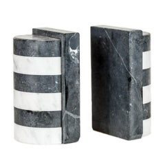 The Marble House Bookends in Black and White Carrara, Handmade in Italy
