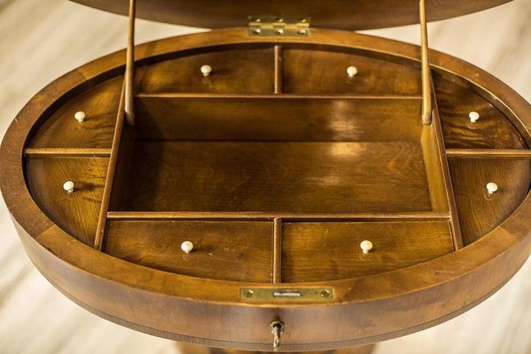Biedermeier Sewing Table Veneered with Birch For Sale 2