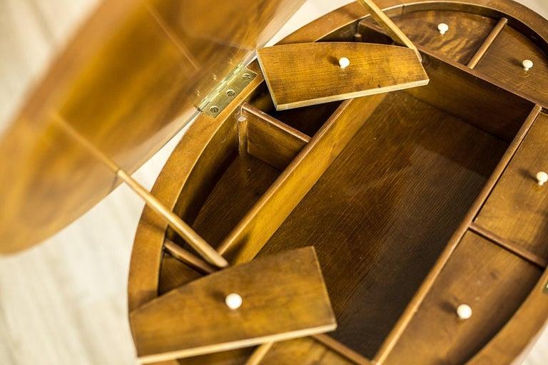 Biedermeier Sewing Table Veneered with Birch For Sale 4
