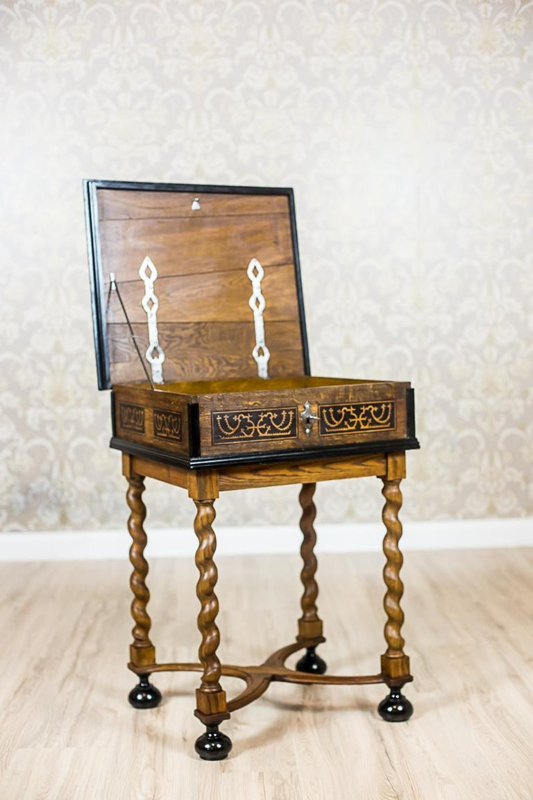 European Neo-Baroque Oak Sewing Table, circa Late 19th Century For Sale