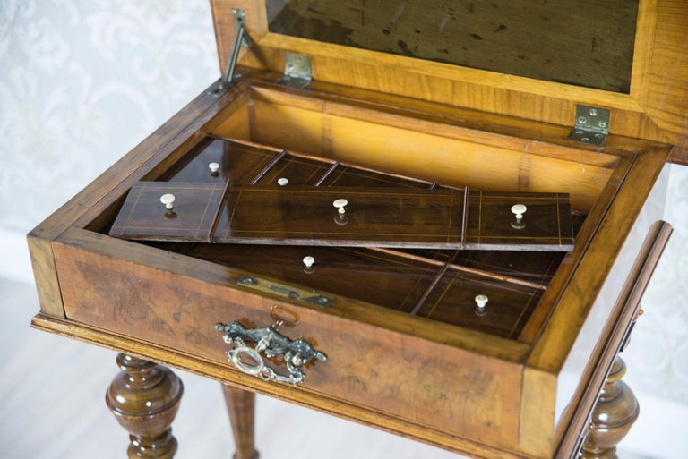 Eclectic Walnut Sewing Table, circa 1900 For Sale 1