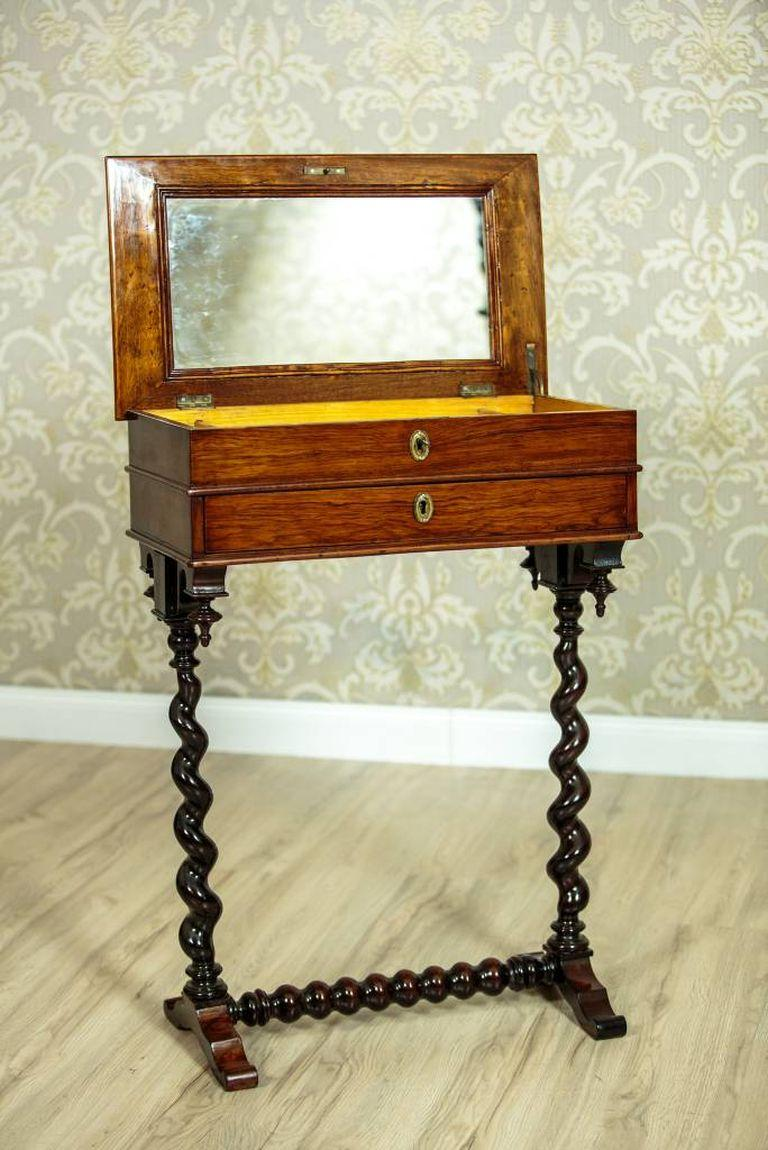 Belgian Renovated Eclectic Mahogany Sewing Table, circa 1880-1890 For Sale