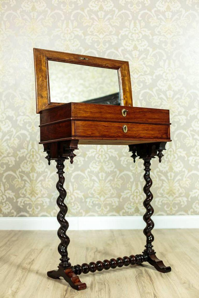 Veneer Renovated Eclectic Mahogany Sewing Table, circa 1880-1890 For Sale
