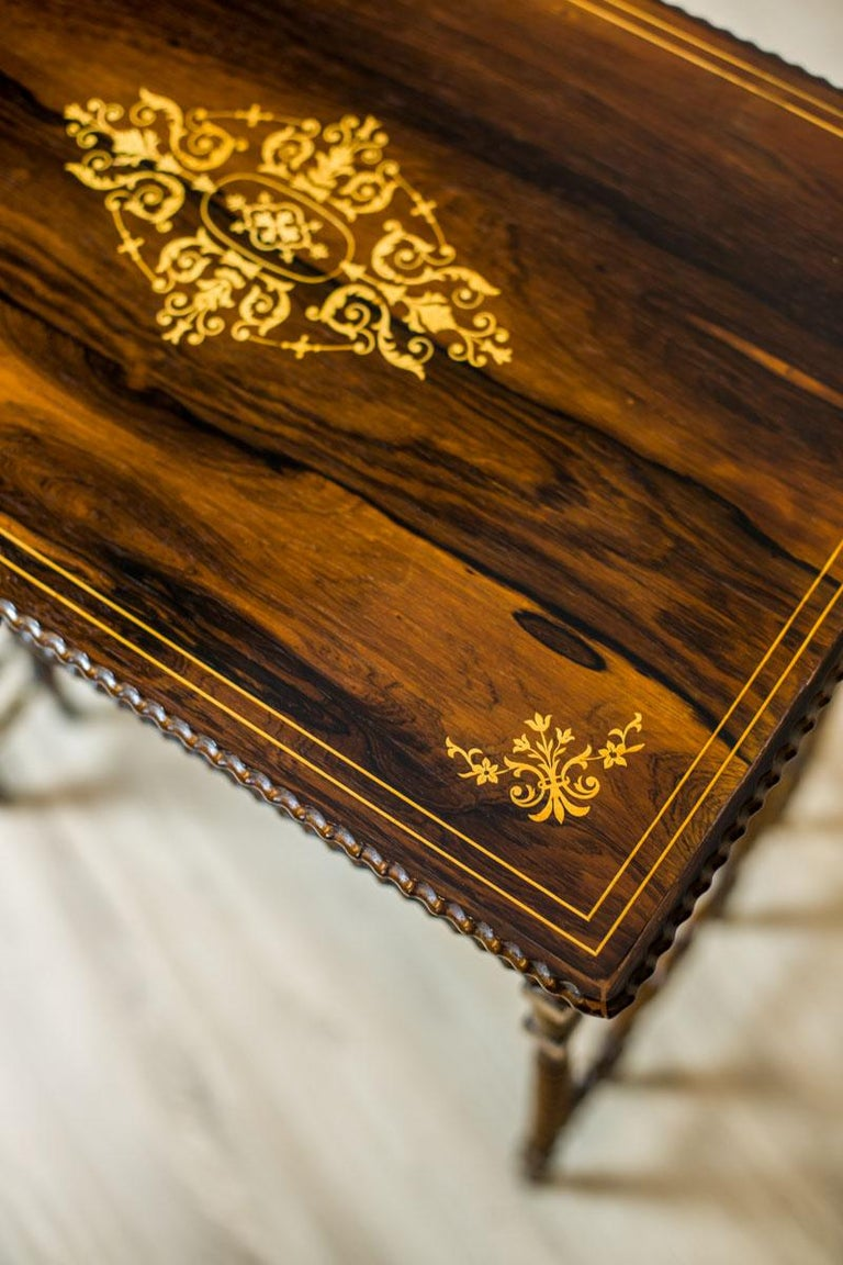 Rosewood French Intarsiated Table from the 19th Century For Sale